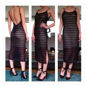 Alice + Olivia Illusion Open Back Midi Dress